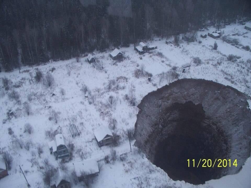 Воронка в Соликамске с воздуха